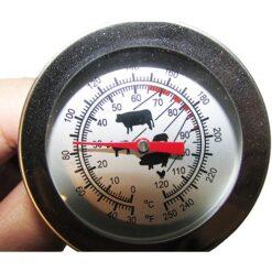 نمایی نزدیک از صفحه نمایش دماسنج غذا ، دماسنج آشپزخانه ، دماسنج خاک آنالوگ 0 تا 120 درجه
