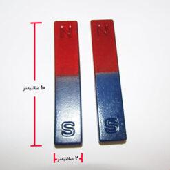 مشاهده ابعاد آهنربای مکعب مستطیلی دو رنگ جفتی 10 سانت
